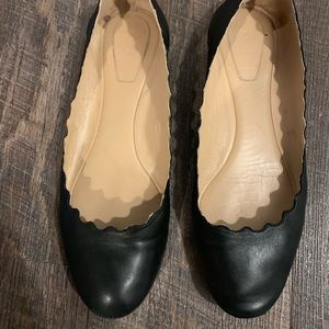 Chloe Black Lauren Scalloped Ballet Flats Size 8